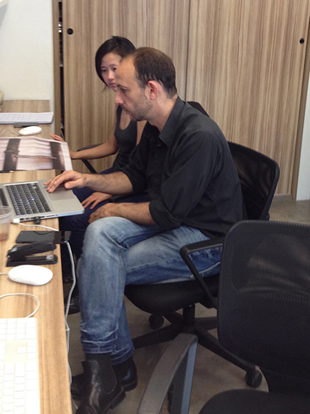 <p>      Rui Calçada Bastos works with the video editing for the exhibition</p>