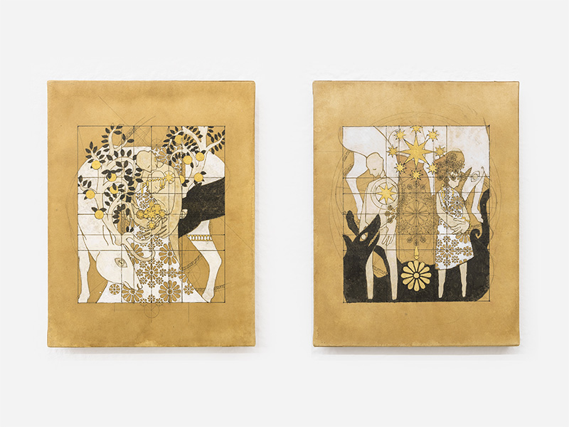 <p>TAKAFUMI KIJIMA, <em>Rosa damascena - Le temps des cerises and Rosa centifolia Les Feuilles mortes</em>, 2016, wood panel, Japanese paper, ink, acrylic, gold and pencil, 18 x 14 cm each</p>